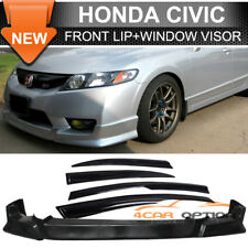 Fits For 09-11 Honda Civic 4Dr Poly Urethane Front Bumper Lip + Sun Window Visor