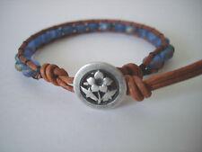 Matte Blue Rainbow Sparkle Glass Beaded Leather Wrap Bracelet Handmade