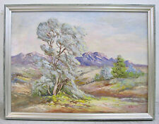 Large Desert Landscape Oil Painting Smoke Bush Moss Green Home Decor Signed Art
