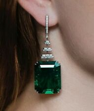 8Ct Octagon Emerald Simulant Diamond Dangle Drop Earrings White Gold Fnsh Silver