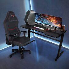 "ERGONOMIC Gaming Desk 47"" Z-shape Home Office Computer PC Desk w/ 2 Cable Holes"