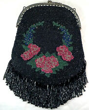 Antique Glass Beaded Purse / Handbag with intricate design Black with Flowers