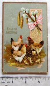 1910 postcard - Easter Greetings - Chickens