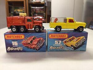 BOXED 2 car lot MATCHBOX cars #MB16 BADGER #MB57 WILD LIFE TRUCK Rola-Matics