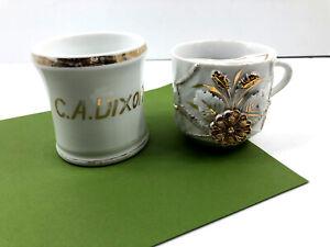 2 Vintage Shaving Mugs - C.A. Dixon Name & Gold 3D Raised Flowers Ceramic