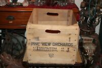 Vintage Pine View Orchards Hammonton NJ New Jersey Wood Crate Box 1962