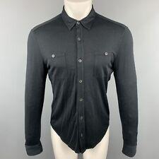 JOHN VARVATOS Size S Black Silk / Cotton Button Up Long Sleeve Shirt