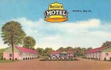 Erie Pennsylvania Bellos Motel Street View Linen Antique Postcard K22665