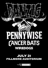 DANZIG /PENNYWISE /CANCER BATS 2015 DENVER CONCERT TOUR POSTER-Heavy Metal Music