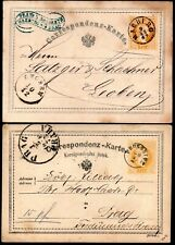 10.37.AUSTRIA,2 POSTAL STATIONERY LOT,1869 MARBURG,1873 PROSSNITZ.