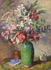 LOUIS RIOU (1893-1958) LARGE SIGNED FRENCH IMPRESSIONIST OIL - FLOWERS IN VASE