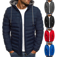 Mens Padded Puffer Bubble Coat Winter Warm Zip Up Hooded Quilted Jacket Overcoat