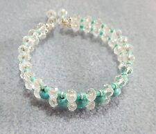 wire bangle 1 Size Fits Most Turquoise gemstone and clear crystal memory