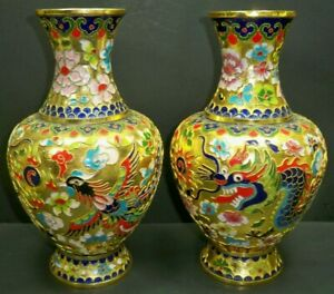 """Pair of Beautiful Vintage Cloisonné Dragon Brass Enameled Large 10"""" Tall Vases"""