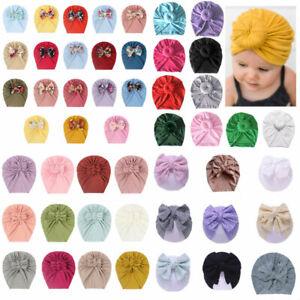 Baby Girl Infant Newborn Toddler Hat Cap Soft Bow Top Knot Headband Turban Wrap.