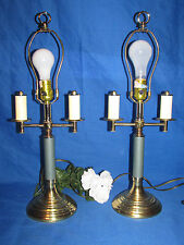 """PAIR  ALSY GREEN AND BRASS DOUBLE ARM METAL TABLE LAMPS 22"""" TALL 3 WAY LIGHTS"""