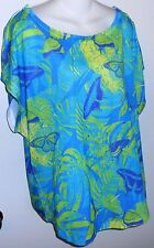 Guy Harvey blue green purple scoop neck butterfly shirt worn once size Large