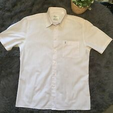 YSL yves Saint Laurent Mens Size M Candy Striped Button Down Short Sleeve Shirt