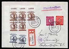 SBZ 138 II + VII, 2 Pl.-Fehler auf Orts-R-Brief Leipzig 23.5.46, gepr. Ströh BPP