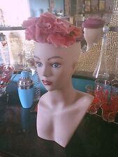 Vintage 1940s Hat Pink Purple Rose Floral PinUp Rockabilly Swing 1950s 40s 50s