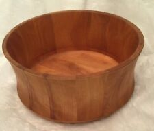 """Williams Sonoma 11"""" Round Natural Wooden Salad Bowl Signed By John McLeod"""