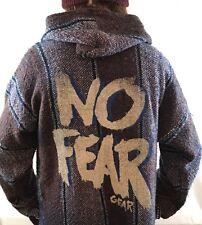 Vtg 90s NO FEAR Pullover Jacket Hoodie Poncho Hood Baja Skate Rasta XL