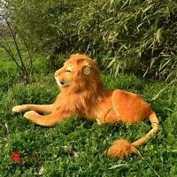 90cm Simulation Lion Plush Stuffed Toy Lying Animal Pillow Doll Birthday Gifts