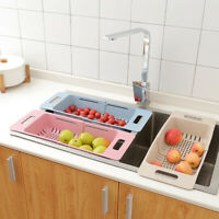 Sink Drying Rack Vegetable Fruit Drain Basket Adjustable Home Kitchen Organizer