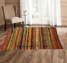 Fair Trade Handmade Indian Rag Rugs Hand Woven Carpet Striped Yoga Mats 3x5'