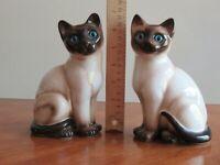"2 Big Enesco Hand Painted Ceramic Siamese Kitty Cat Statue Figurine Blue Eyes 7"""