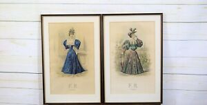 Pair 2 x Framed Antique Victorian French Colour Fashion Plates Costume Prints