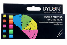 DYLON FABRIC PAINTING FINE NIB PENS MARKERS 5 PACK ASSORTED FLUORESCENT COLOURS!