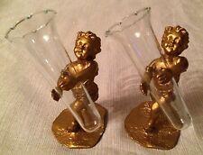 (10) Vintage Keesal & Mathews Cordial Glasses Child Cherub Gold Resin NYC