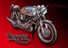 CLASSIC BRITISH TRITON CAFE RACER MOTORCYCLE METAL CLOCK.