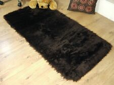 Chocolate Brown Faux Fur Sheepskin Style Oblong Rug 70 x 140cm Washable