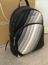 Michael Kors ABBEY Leather Quilted Backpack Ombré BLACK BNWTS