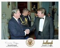 Ronald Reagan and Donald Trump Presidential Seal Signed 8X10 Picture Reprint