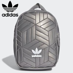 New ADIDAS 3D Mini Backpack Small Geometric Rucksack Festival Bag - Silver Grey