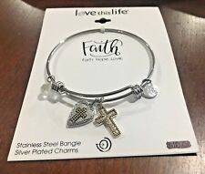 Love This Life Bracelet Faith Hope Love Bangle Charms Expandable Silver Plated
