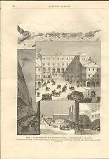 PARIS L' ANCIENNE GARE SAINT-LAZARE GRAVURE 1885