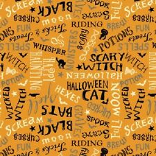 COME SIT A SPELL HALLOWEEN BLACK CATS WORDS FABRIC