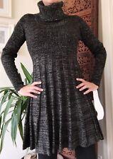 NWT Calvin Klein Black Sweater Dress Metallic Stripe Turtleneck Knit Tunic Small