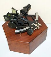 100% Working Black Marine Sextant Nautical Astrolabe Ship With Wooden Case Gift