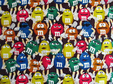 "M & M Mars Candy Fabric - fat quarter - 18"" X 22"" - 100% Cotton - FREE SHIPPING"
