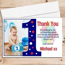 10 Personalised Boys 1st First Birthday Thank you PHOTO Cards N191