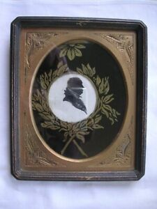 ANTIQUE BUST SILHOUETTE OF MAN IN ORNATE FRAME