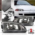 Black Housing Clear Corner Signal Reflector Headlight Lamp For 92-95 Honda Civic