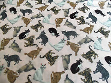 CAT KITTEN QUILT FABRIC WITH PINK BACKGROUND - 1 YARD PIECE