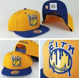 Mitchell & Ness Golden State Warriors Yellow / Royal paint dripped snapback Hat