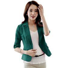 Fashion Women 3/4 Sleeve Suit Blazer Lapel Button Short OL Jacket Coat Outerwear